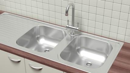 Kitchen cabinet closeup chrome sink