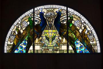 Vetrata con pavoni, pavoni in vetro, casina delle civette