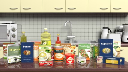 Kitchen cabinet closeup with grocery products