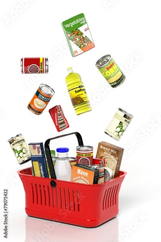 Keuken foto achterwand Boodschappen Full shopping basket with products isolated on white