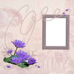 Vintage border or frame with white copyspace for image and with
