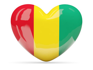 Heart shaped icon with flag of guinea