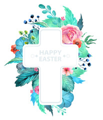 Easter watercolor natural illustration with cross sticker