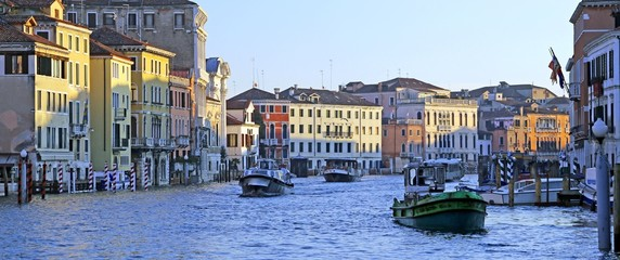 venetian houses view from grand canal in venice italy