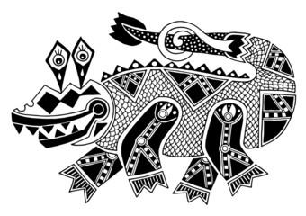 black and white authentic original decorative drawing of crocodi