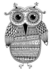 black and white original ethnic owl ink drawing