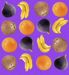 Tropical background with oranges, coconuts, bananas and figs