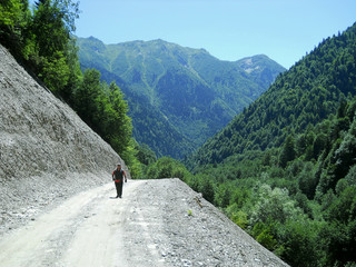 Mountainous road in Svanetia, Georgia