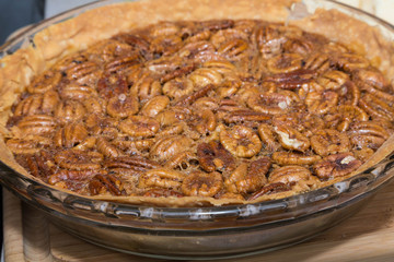Whole Pecan Pie in Glass Plate