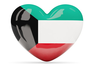 Heart shaped icon with flag of kuwait