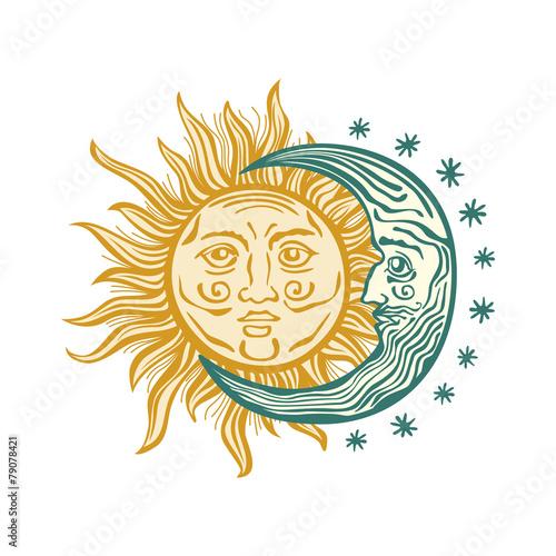 Tapeta Sun, month stars Vector vintage style folklore retro