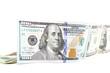 Hundred dollar bill on a white background.