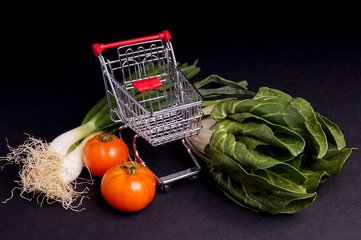 Chopping Cart with vegetable