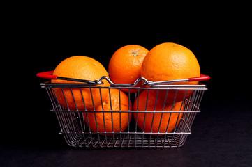 Basket of Organic ripe Orange