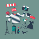 holidays and vacation flat vector french icons fashion and bist - 79078828