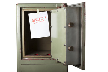 Domestic burglary. Safe box emptied by thieves. Grazie