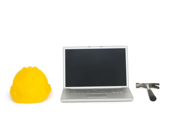 Laptop with construction tools