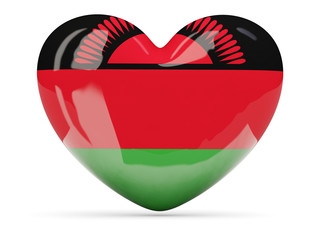 Heart shaped icon with flag of malawi