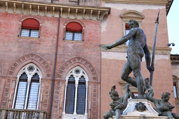 Bologna, Italy, Fountain with nude statue of Neptune