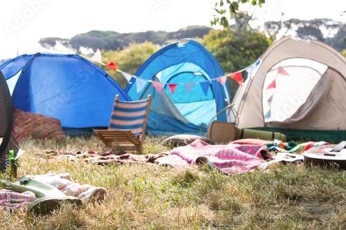 Empty campsite at music festival - 79080030