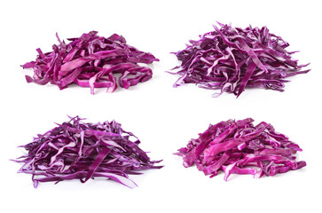 pile of cut red cabbage on white background
