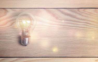 bulb on wood background