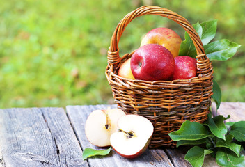 Korb mit frisch gepflückten Äpfeln