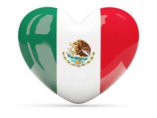 Heart shaped icon with flag of mexico