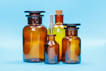 Brown empty glass reagent bottles