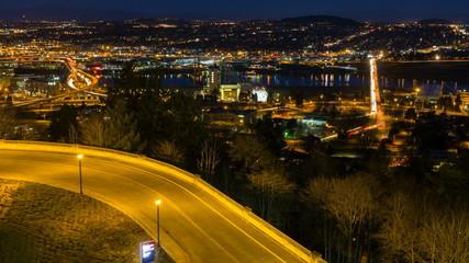 Time Lapse of Traffic Light Trails on Bridges in Portland Oregon