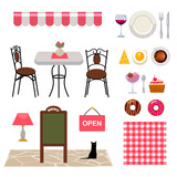 set of vector objects for cafe business - 79080630