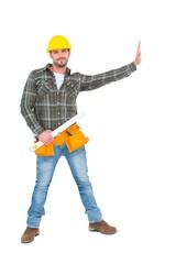 Manual worker holding spirit level