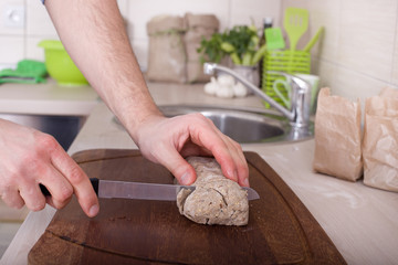 Cutting wholemeal bread
