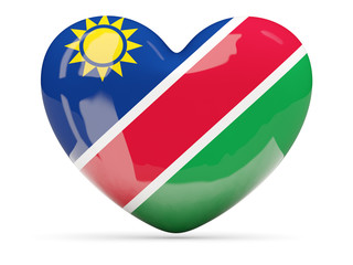Heart shaped icon with flag of namibia