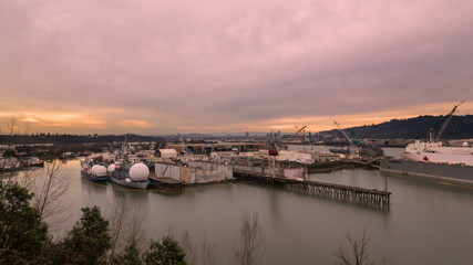 Time Lapse of Sunset at the Largest Drydock in North America