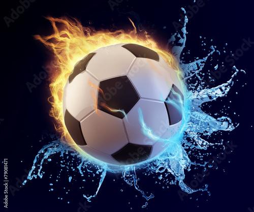 football in blue water splash and orange flame