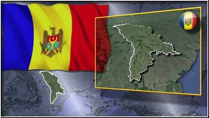 Moldova flag and map animation