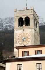 Clock tower in Bormio, Italy