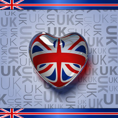 glass heart with flag of the United Kingdom inside.