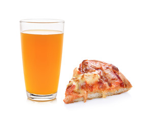 orange juice and pizza on white background