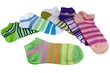Stack Of Many Pairs Colorful Striped Socks Isolated On White - 79082659