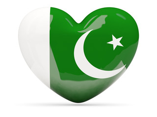 Heart shaped icon with flag of pakistan