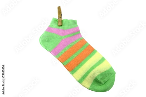 Pair Green, Orange, Yellow and Violet Striped Ladies Socks With - 79082654