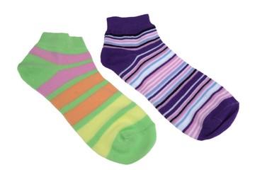 Pair of Different Sport Striped Ladies Socks