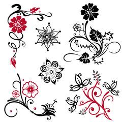 Ornamente, Blumen, rot, schwarz