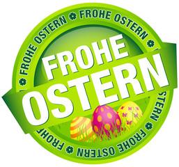 """Button Banner """"Frohe Ostern"""" Ostereier grün/pink"""