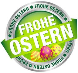 """Button Banner """"Frohe Ostern"""" Ostereier grün/pink/silber"""