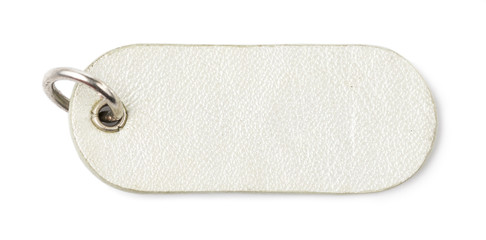Silver Leather Tag Label on White background
