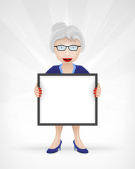 old woman with empty message board for text