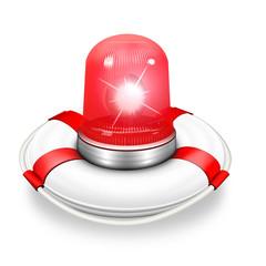 Rettungsring mit roter Rundumleuchte